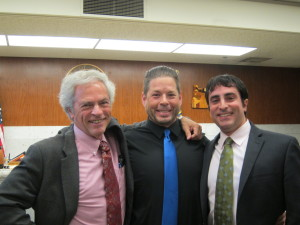 Greg Kafoury, Jason Cox & Jason Kafoury after winning $562,000, in a suit against the Portland Police. (credit: Aimee Green/The Oregonian)